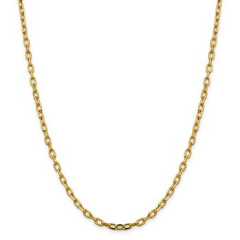14k Semi-Solid D/C 3.7mm Open Link Cable Chain