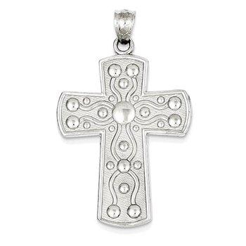 14k White Gold Cross w/Serenity Prayer Pendant