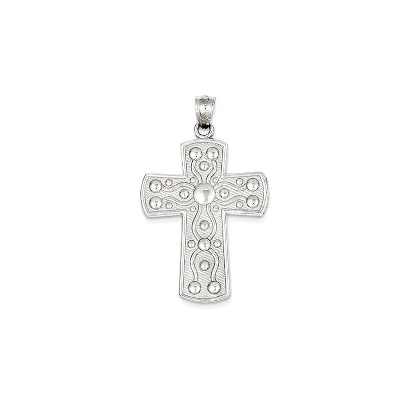 Lovebright Collection Jewelry 14k White Gold Cross w/Serenity Prayer Pendant