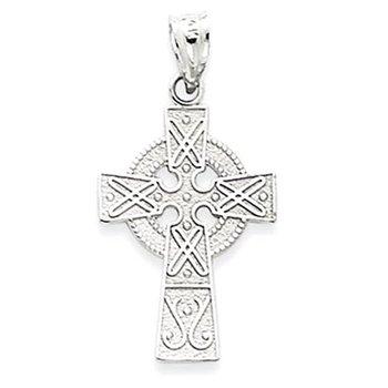 14k White Gold Celtic Cross Pendant