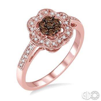 FLOWER SHAPE CHAMPAGNE DIAMOND RING