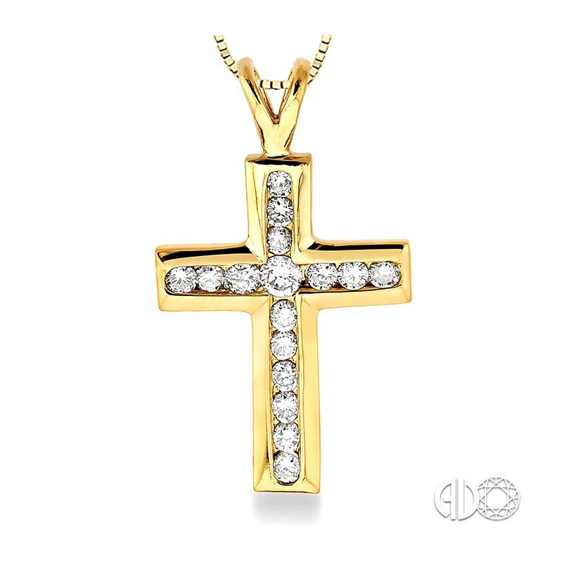 Lovebright Collection Jewelry 3/8 Ctw Round Cut Diamond Cross Pendant in 14K Yellow Gold with Chain