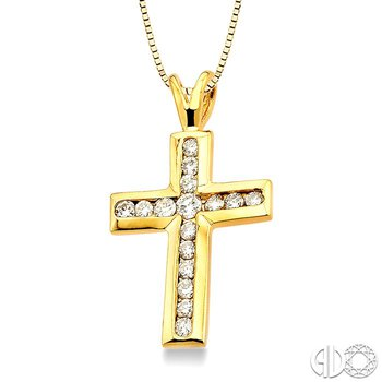 3/8 Ctw Round Cut Diamond Cross Pendant in 14K Yellow Gold with Chain