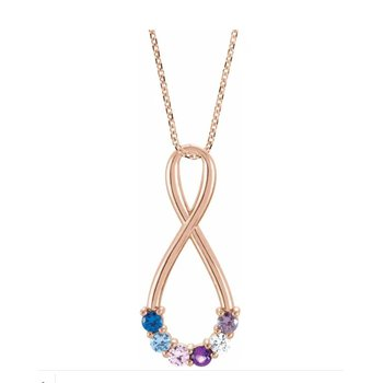 "14K White, Yellow, Rose Gold or Sterling Silver One to Six-Stone Family Infinity-Style 16-18"" Necklace"