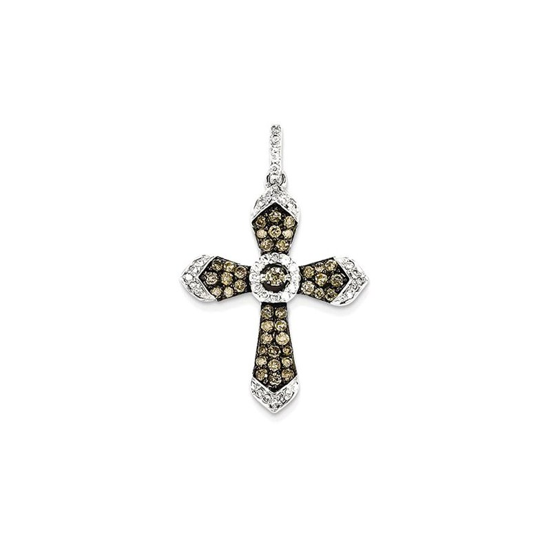 Lovebright Collection Jewelry 14K White Gold/Blk Rhod Champagne/Wh Diamond Cross Pendant