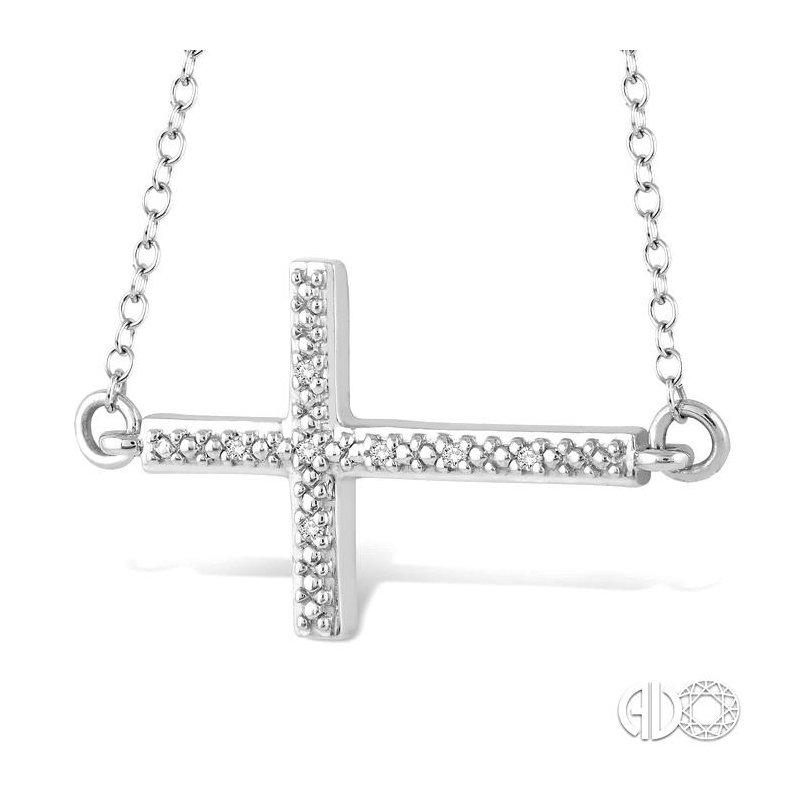 Lovebright Collection Jewelry SILVER CROSS DIAMOND PENDANT
