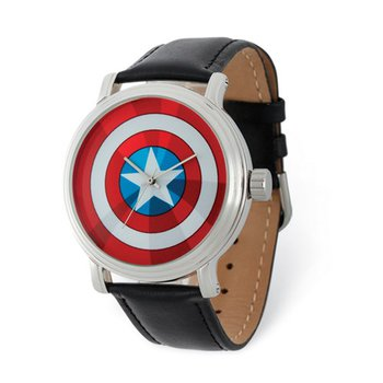 Marvel Adult Size Captain America Black Leather Band Watch