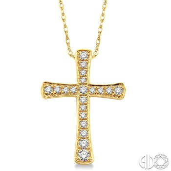 1/6 Ctw Round Cut Diamond Cross Pendant in 14K Yellow Gold with Chain