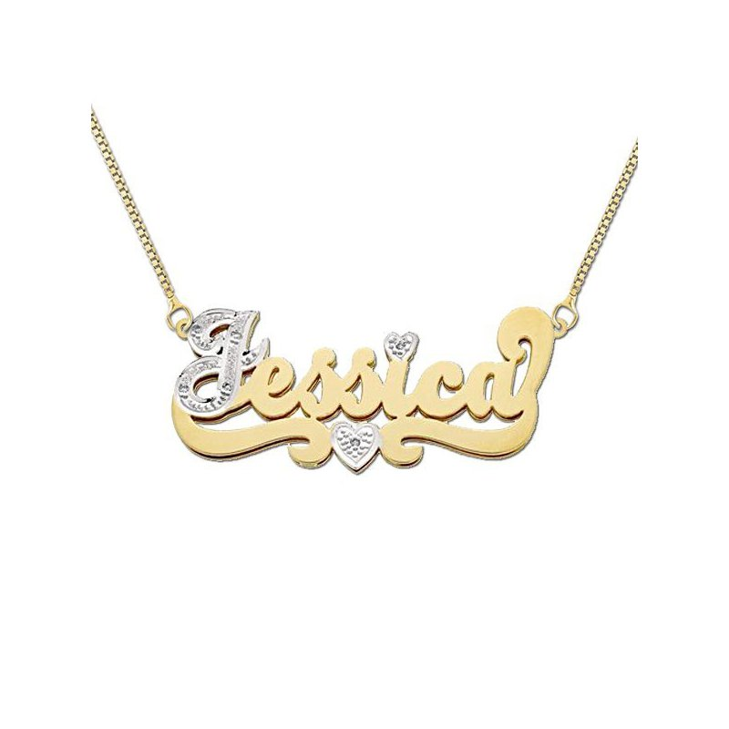 Casale Collections Sterling or Gold Custom Nameplate with First Initial and Heart in Tail in Diamonds