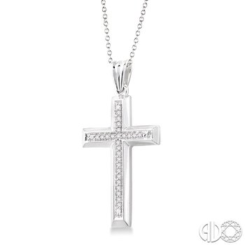1/10 Ctw Single Cut Diamond Cross Pendant in Sterling Silver with Chain