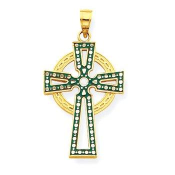14k Green & White Enameled Diamond-cut Celtic Cross Pendant