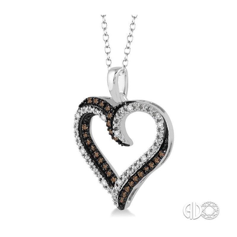 Lovebright Collection Jewelry SILVER HEART CHAMPAGNE DIAMOND PENDANT