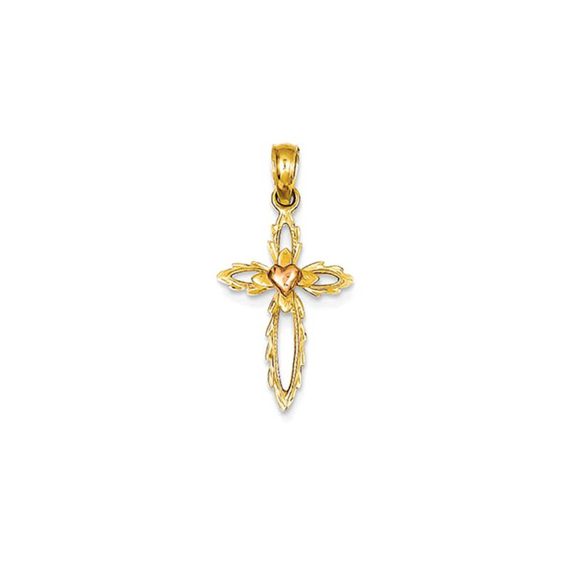 Lovebright Collection Jewelry 14K Two-tone Cut-out Cross w/Pink Heart Pendant
