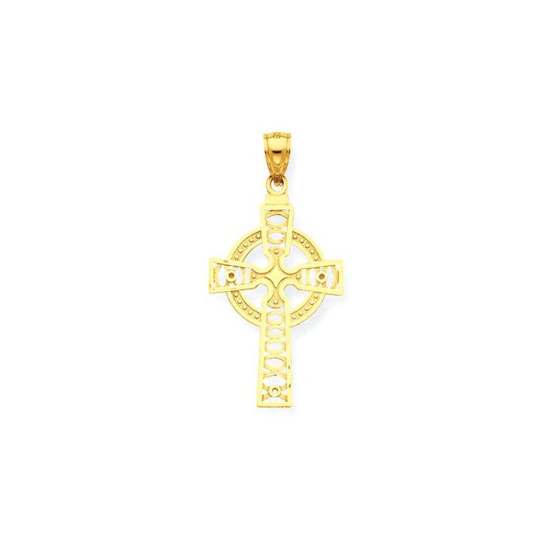 Lovebright Collection Jewelry 14K Celtic Cross w/Eternity Circle Pendant