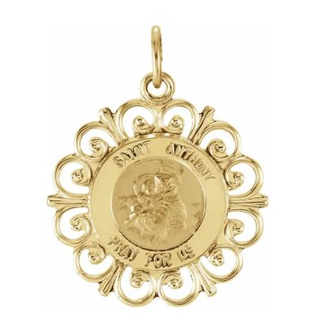 """14K Yellow Gold 18 mm St. Anthony Medal and 18"""" Chain"""