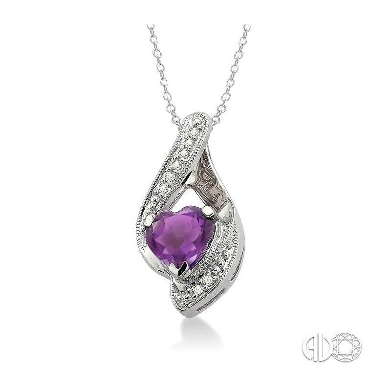 Lovebright Collection Jewelry HEART SHAPE SILVER DIAMOND & GEMSTONE PENDANT