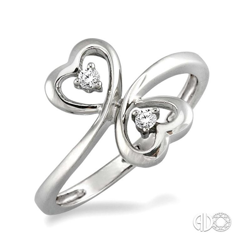 Lovebright Collection Jewelry SILVER 2STONE HEART DIAMOND RING