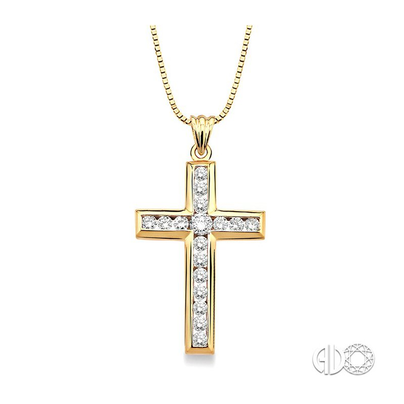 Lovebright Collection Jewelry 1 Ctw Round Cut Diamond Cross Pendant in 14K Yellow Gold with Chain