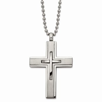 Titanium Brushed And Polished Cross 22in Necklace