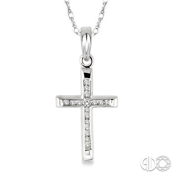1/10 Ctw Single Cut Diamond Cross Pendant in 14K White Gold with Chain