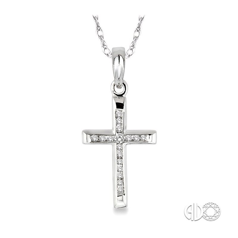 Lovebright Collection Jewelry 1/10 Ctw Single Cut Diamond Cross Pendant in 14K White Gold with Chain