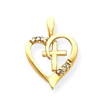 14k AA Diamond Heart & Cross Pendant