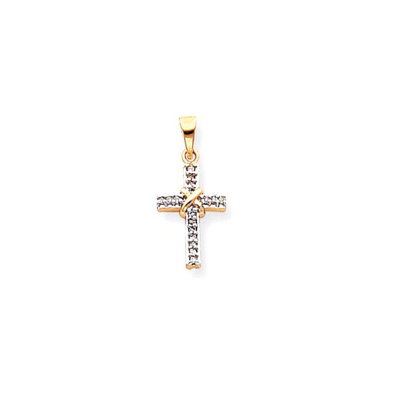 Lovebright Collection Jewelry 14k & Rhodium Diamond Latin Cross Pendant