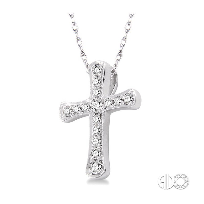 Lovebright Collection Jewelry 1/10 Ctw Round Cut Diamond Cross Pendant in 14K White Gold with Chain