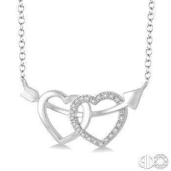 SILVER TWIN HEART ARROW DIAMOND PENDANT