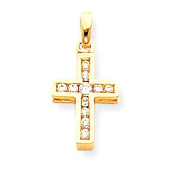 14k Diamond Latin Cross Pendant