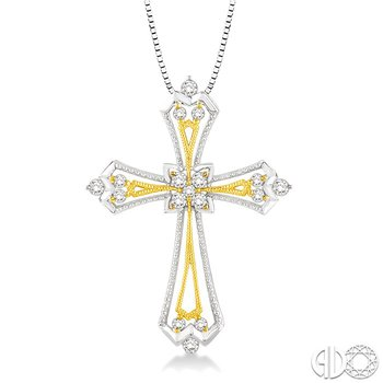 1/3 Ctw Round Cut Diamond Cross Pendant in 14K White and Yellow Gold with Chain
