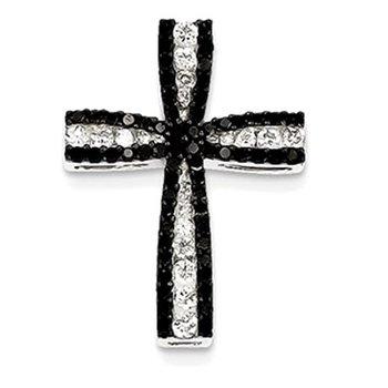 14K White Gold Black & White Diamond Cross Pendant