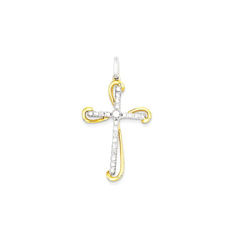 Lovebright Collection Jewelry 14K Two-tone Diamond Cross Pendant