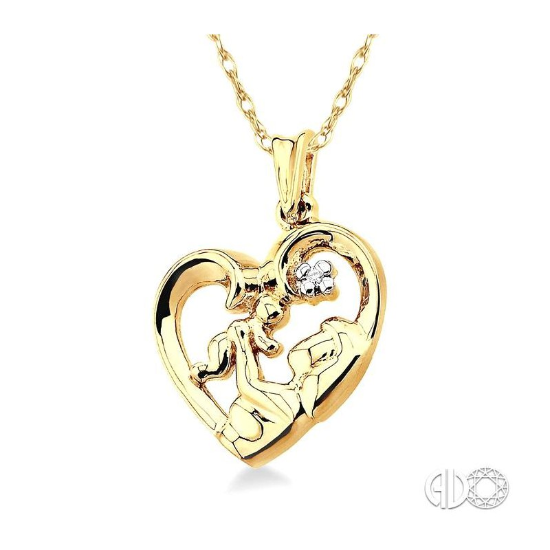 Lovebright Collection Jewelry CHILD & MOM HEART SHAPED DIAMOND PENDANT