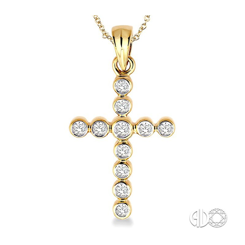 Lovebright Collection Jewelry 1/4 Ctw Round Cut Diamond Cross Pendant in 14K Yellow Gold with Chain