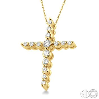 1/4 Ctw Round Cut Diamond Journey Cross Pendant in 14K Yellow Gold with Chain