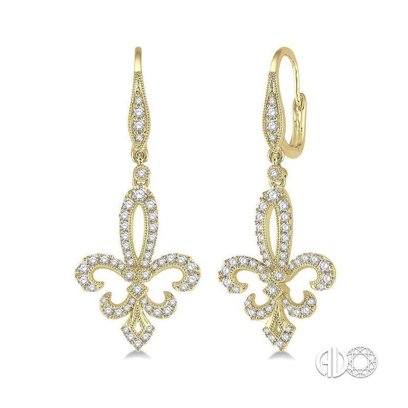 Lovebright Collection Jewelry DIAMOND FLEUR DE LIS EARRINGS