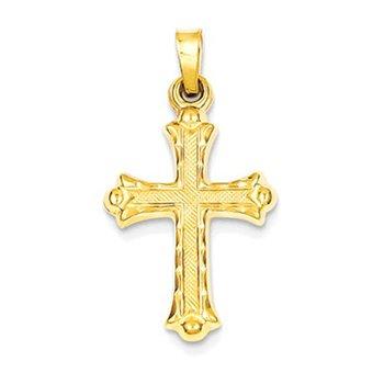 14k Hollow Fleur De Lis Cross Pendant