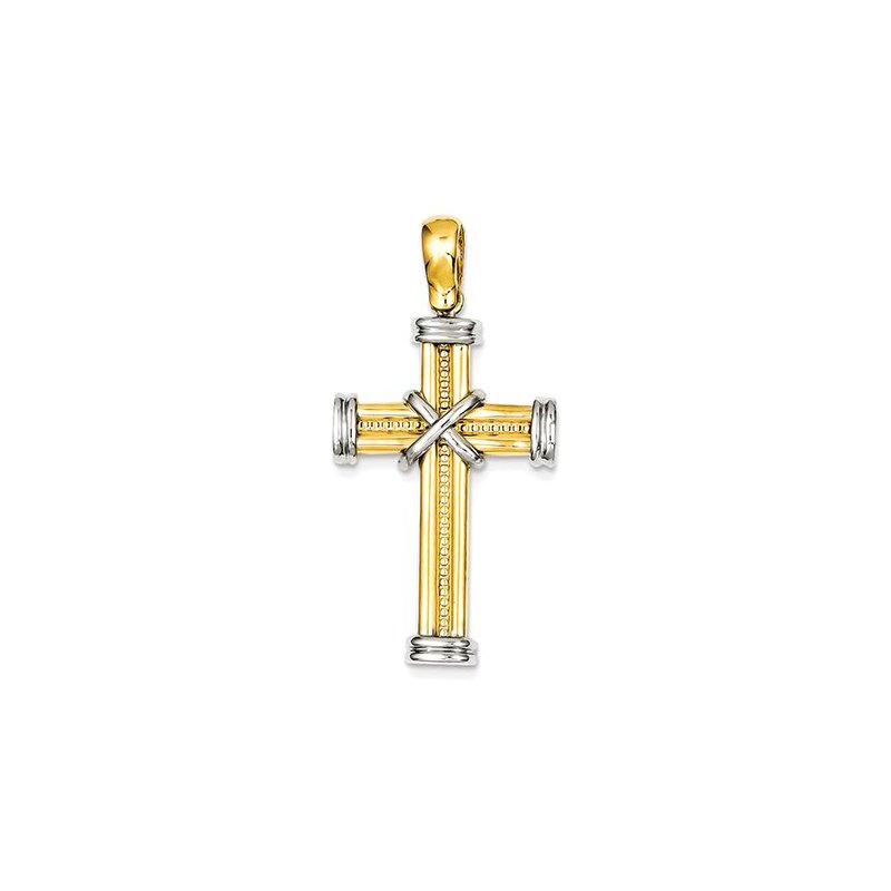 Lovebright Collection Jewelry 14k Two-tone Fancy Cross Pendant