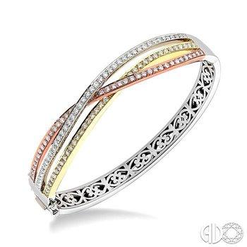 TRI COLOR DIAMOND BANGLE