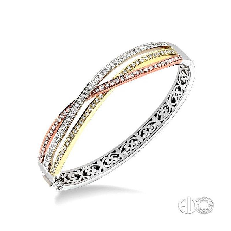 Lovebright Collection Jewelry TRI COLOR DIAMOND BANGLE