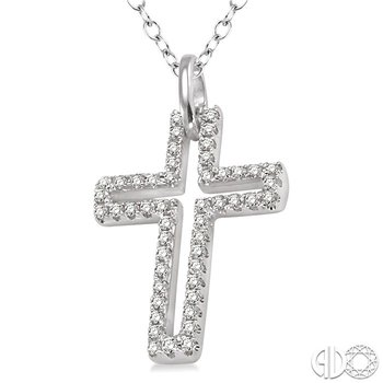 1/4 Ctw Round Cut Diamond Cross Pendant in Sterling Silver with Chain