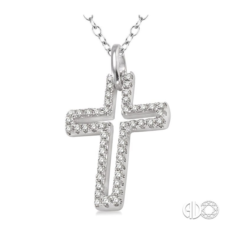Lovebright Collection Jewelry 1/4 Ctw Round Cut Diamond Cross Pendant in Sterling Silver with Chain