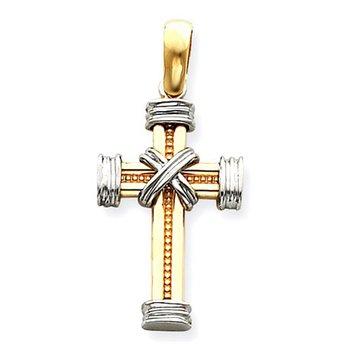 14k Two-tone Latin Cross Pendant