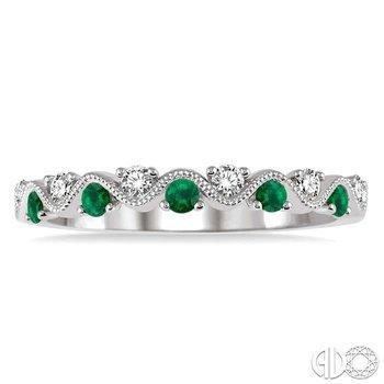GEMSTONE & DIAMOND STACKABLE RING