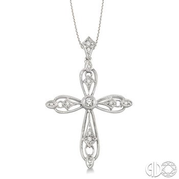 1/6 Ctw Round Cut Diamond Cross Pendant in 14K White Gold with Chain