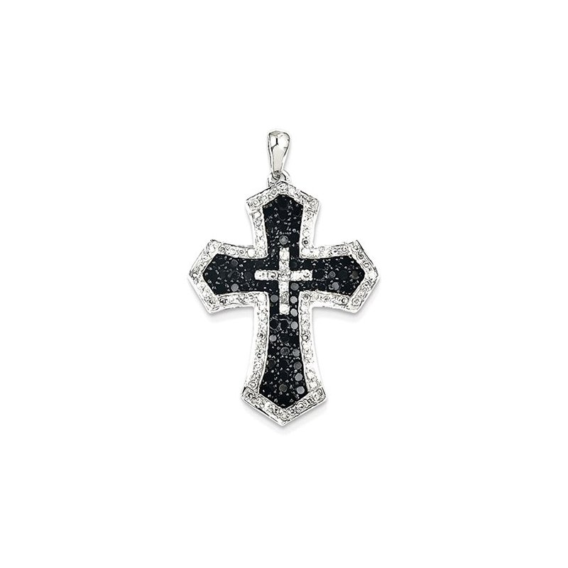Lovebright Collection Jewelry 14KW Rhodium Black Diamonds & White Diamond Cross Pendant
