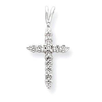 14k White Gold AA Diamond Cross Pendant