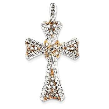 14K White Gold & Rhodium Diamond Cross Pendant