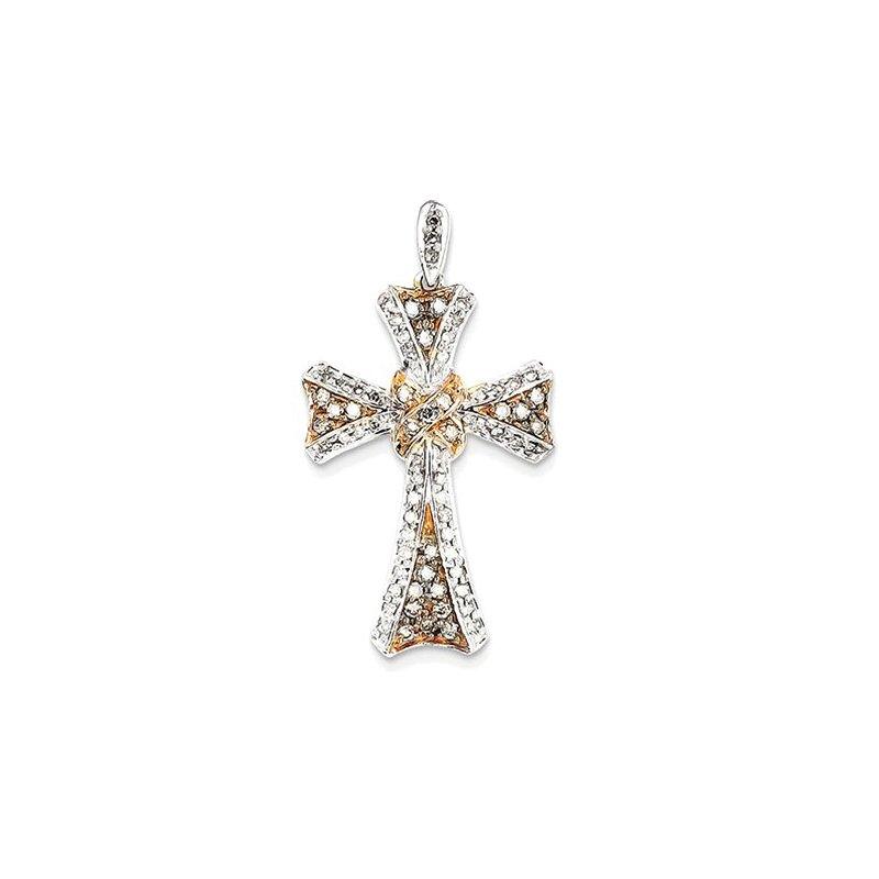 Lovebright Collection Jewelry 14K White Gold & Rhodium Diamond Cross Pendant